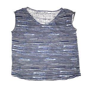 Gap Linen Blue & White Striped Sleeveless Tee M